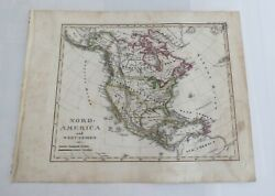 Antique 19th C Stielers Atlas Map No Xix North America West Indien 1850s Hand Co