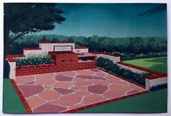 Midcentury Modern Painting Backyard Patio amp; Barbecue Island Architect Rendering