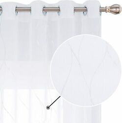 Deconovo White Sheer Curtains Silver Foil Printed Wave Pattern Semi Grommet Voil