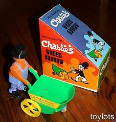 Vintage Charlie Chaplin Wind-up Wheel Barrow Toy Mint Old Store Stock Nice Boxed