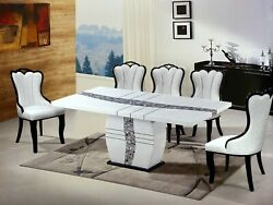 New Elegant White 1.8m Marble Dining Table/4 Chair Modern Contemporary Furniture