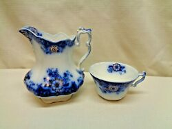 Johnson Brothers Flow Blue Brooklyn Pitcher And Cup Free Shipping