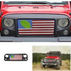 For Jeep Wrangler Jk 2007-2017 Usa Flag Style Front Bumper Center Grill Refit
