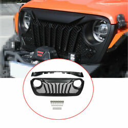 Fit For Jeep Wrangler Jl 2018-2020 Abs Black Car Front Grille Grill Cover Trim