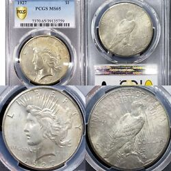 Extremely Nice 1927 Peace Silver Dollar 1 Pcgs Ms65 Gold Shield