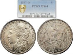 Extremely Nice Toned 1887-o Morgan Silver Dollar 1 Pcgs Ms64 Gold Shield