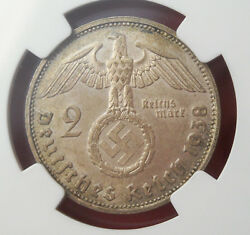Ngc Ms-64 Nazi Swastika 1938-g 2 Reichsmark Silver Coin-germany 3rd-reich Mint