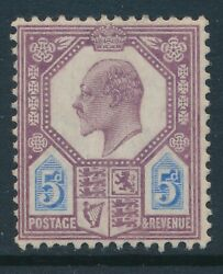 1902-1910 Gb 5d Dull Purple And Ultramarine Mint Hinged Sg242 Our Ref K1