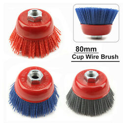1-3pcs 4'' Cup Nylon Abrasive Wire Brush Grinding Wheel For Derusting 80-240