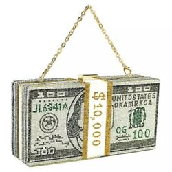 Stack of Cash Crystals Women Money Evening Clutch Bags diamond painting chain... $28.00