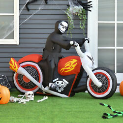 7.5ft Halloween Airblown Inflatable Reaper Motorcycle Outdoor Yard Decorations $54.99