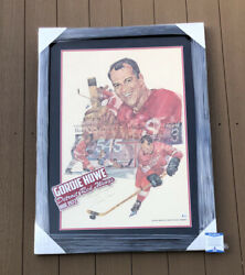 Gordie Howe Signed Framed And Matted Detroit Red Wings Lincoln Poster Beckett Coa