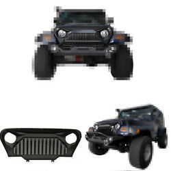 For Jeep Wrangler Tj 1997-2006 Abs Black Front Bumper Center Hood Grill Trim 1pc