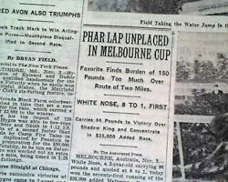Phar Lap Loss Thoroughbred Horse Racing Melbourne Cup 1931 Newspaper