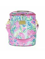 Lilly Pulitzer Pink Blue Green Insulated Soft Beach Cooler Totally Blossom New $25.00