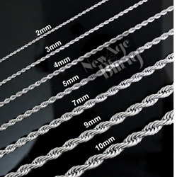 Stainless Steel Rope Chain Silver 16quot; 30quot; Men Women Necklace 2 3 4 5 7 9 10mm