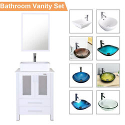 24 Inch White Bathroom Vanity With Sink Glass Ceramic Mirror Cabinet Set Faucet