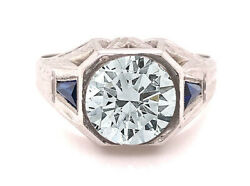 Vintage Mens Sapphire Semi-mount Ring Holds 2.50ct-2.75ct Stone 18k