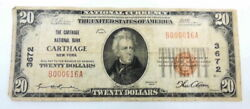 1929 20 Nb Carthage New York National Currency 3672 Paper Money Fine 616a