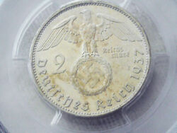 Pcgs Ms-64 Nazi Swastika 1937-a 2 Reichsmark Silver Coin-germany 3rd-reich Mint
