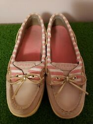 Sperrys Top Sider Women's Sz 4.5m Pink/white Slip On Sperry Leather Boat Shoes
