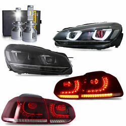 Headlight+red Clear Taillights+d2s Led Bulbs For 10-13 Golf Mk6 12-13 Golf R