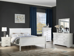 New 5pc Queen Or King White Sleigh Bedroom Set Modern Furniture Bed/d/m/n/c