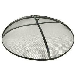 31 Black Round Steel Fire Pit Spark Screen Outdoor Wood Burning Mesh Cover
