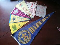 Vintage Mexican And American Lot Of 7 Dif Boy Scouts Pennant From 50's And 60's Rare