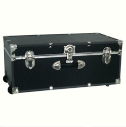 Footlocker Trunk Storage Wheels Wood Vinyl MoistureResistant 30in BLACK