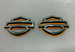 CUSTOM HARLEY HD CVO TANK EMBLEMS BADGES HANDCRAFTED GLOSSY BLACK ORANGE $199.99