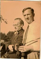 Old Antique Photograph Two Distinguished Men Wearing Glasses With Binoculars