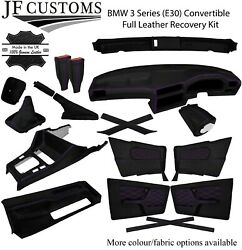 Purple Stitch Leather Covers For Bmw 3 Series E30 Convertible Full Interior Kit