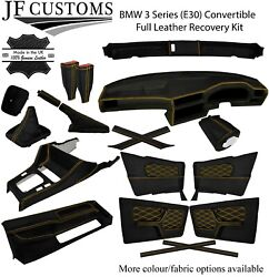 Yellow Stitch Leather Covers For Bmw 3 Series E30 Convertible Full Interior Kit