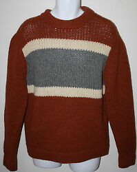American Eagle Outfitters Orange White Gray Ls Wool Sweater Nwt M Mens