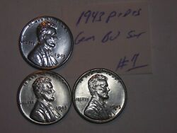 Wheat Penny 1943,1943-d,1943-s Nice Bu Lincoln Steel Cent 1943s,1943d Unc Set 5