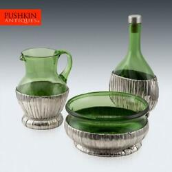 Superb 20thc Italian Solid Silver And Glass Wine Table Set C.1960