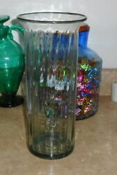 VINTAGE BLENKO GLASS BLOWN CRYSTAL TINTED SEEDED GLASS TALL VASE 4 ENDENTS IN I $47.00