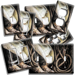 Cowboy Boots Hat Lasso Rope Rustic Country Light Switch Outlet Wall Plates Decor