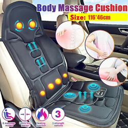 8 Mode Massage Seat Cushion Heated Back Neck Massager Body Chair For Home And Car
