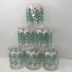 S/6 Vtg H J Stotter Made In Usa Acrylic Tumblers Pink /salmon Carnations Nice