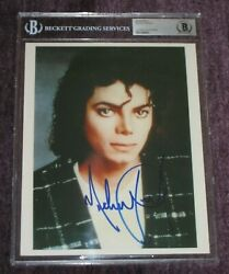 Michael Jackson Signed 8 X 10 Photo Beckett Authenticated And Encapsulated