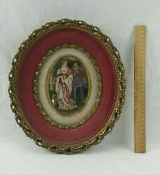 Antique Painting On Porcelain 1800and039s - Royal Family Couple And Dog Rare