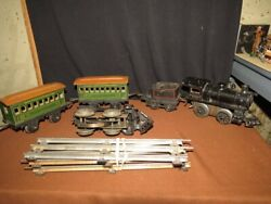 Rare Bing Cast Engine And Tin Toy Train Tender And Cars-wind-up-1920and039s