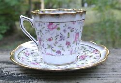 Vintage Lefton Bone China Made In England Chintz Cup And Saucer