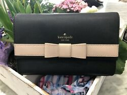 Kate Spade Kirk Park Veronique Saffiano Leather Crossbody Bag Clutch Black Beige $79.00