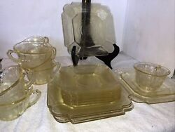 Indiana Glass Co. Lorain Basket Yellow Salad Plate Cup Saucers Depression Glass
