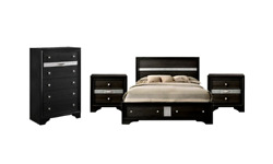 New Black Storage King Queen 4pc Modern Furniture Bed Set Chest And 2 Nightstands