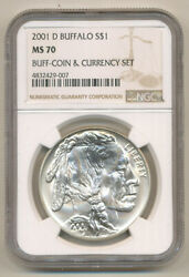Rare - 2001 D Buffalo Silver Dollar Coin And Currency Ngc Ms70 - Only 1 On Ebay
