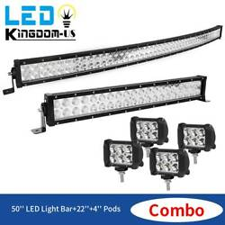 50inch 288w Curved Led Light Bar+22inch 120w+4x4 18w Pods Offroad Truck 4wd Atv